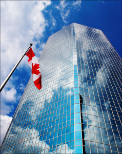 eaton_tower_reflection_canada_flag