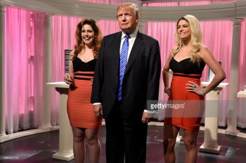 "SATURDAY NIGHT LIVE -- ""Donald Trump"" Episode 1687 -- Pictured: (l-r) Vanessa Bayer, Donald Trump, and Cecily Strong during the ""Porn Stars"" sketch on November 7, 2015 -- (Photo by: Dana Edelson/NBC/NBCU Photo Bank)"