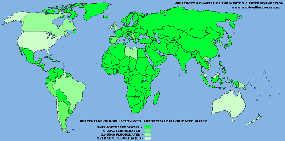 24 Countries Are Poisoning Their Citizens With Water Fluoridation But Most Of These Countries Have A Low Percentage Of Their Population Consuming